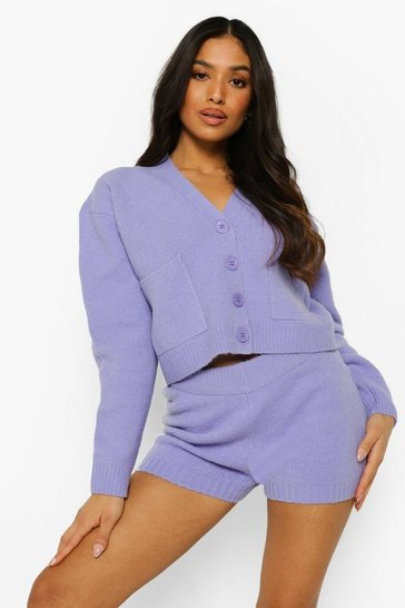 Lavender purple Petite Knitted Crop Co-ord
