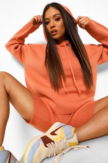 Burnt orange orange Petite Knitted Hoody Co-ord