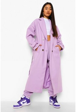 Lilac purple Petite Wool Look Belted Trench Coat