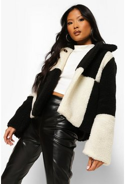 Black Petite Checkerboard Teddy Coat