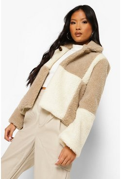 Stone beige Petite Checkerboard Teddy Coat