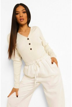White Petite Button Through Knitted Top