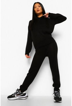 Black Petite Hooded Jumper And Jogger Lounge Se