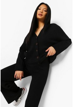 Black Petite Knitted Button Through Cardigan Co-ord