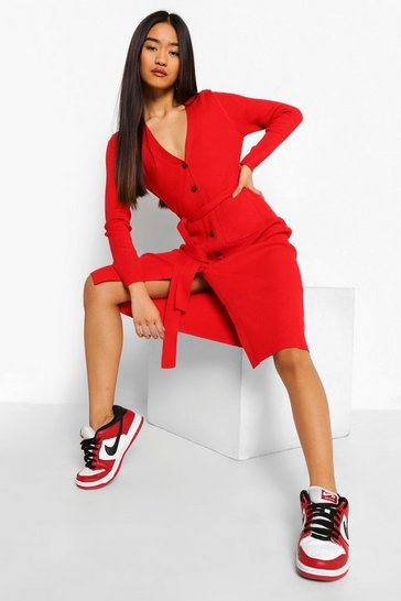 Red Petite Knitted Button Through Dress
