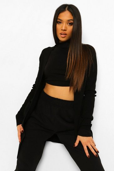 Black Petite Knitted Longline Cardigan