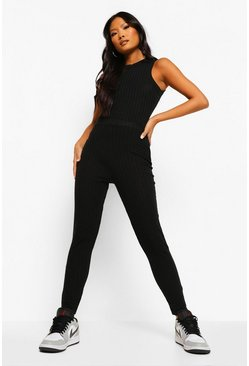 Black Petite Soft Knitted Rib Waist Legging