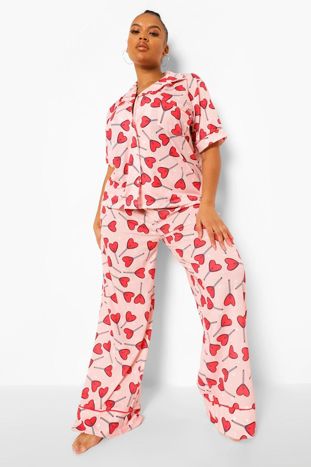 Plus Heart Lollipop Print Jersey Pyjamas 18