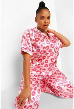 Pink Plus Lip Print Satin Pyjama And Mask