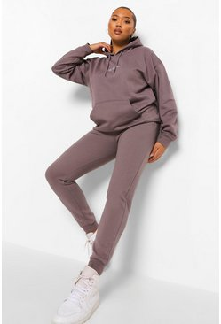 Plus Woman Embroidered Oversized Tracksuit, Charcoal gris