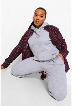 Grey marl grey Plus Woman Embroidered Oversized Tracksuit