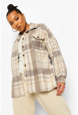 Black Plus Contrast Check Oversized Shacket