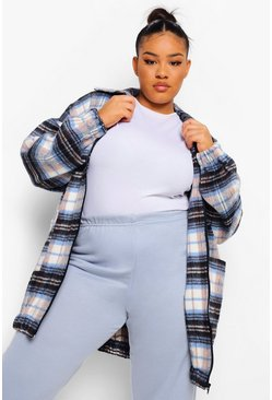 Baby blue blue Plus Oversized Longline Check Zip Shacket