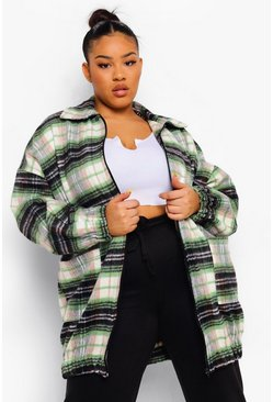 Olive green Plus Oversized Longline Check Zip Shacket