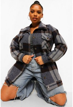 Navy Plus Faux Tort Button Boxy Check Shacket