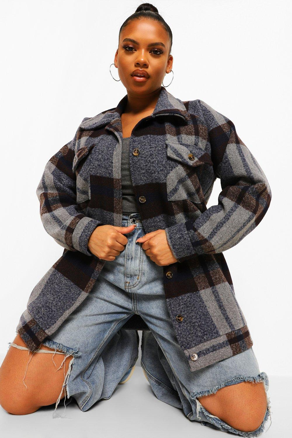 Plus Faux Tort Button Boxy Check Shacket 15