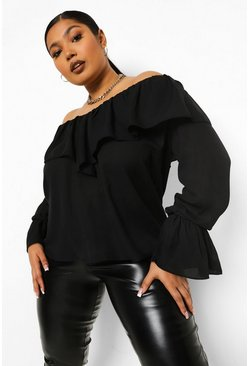 Black Plus Off Shoulder Blouse Met Ruches En Wijd Uitlopende Mouwen