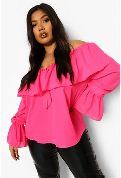 Hot pink pink Plus Ruffle Off Shoulder Flare Cuff Blouse