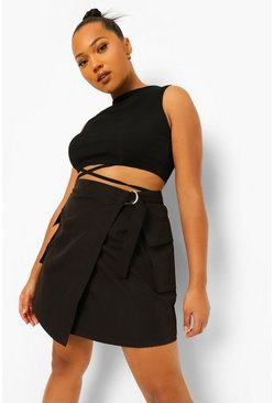 Black Plus D Ring Belted Cargo Skort