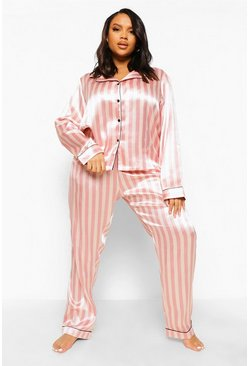 Pink Plus Candy Stripe Satin Pyjamas