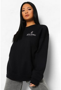 Black Petite Ye Saint West Pocket Print Sweatshirt