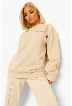 Sand beige Petite Ye Saint West Pocket Print Sweatshirt