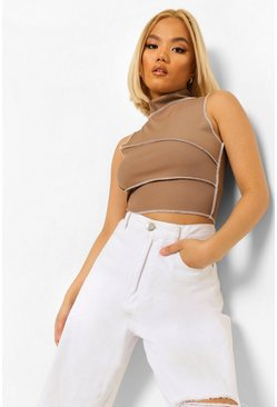 Mocha beige Petite Contrast Top Stitch High Neck Crop
