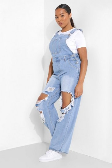 Mid blue blue Plus Distressed Boyfriend Dungarees