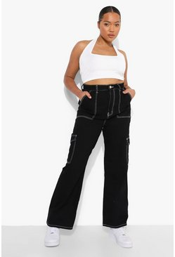 Black Plus Contrast Stitch Pocket Boyfriend Jean