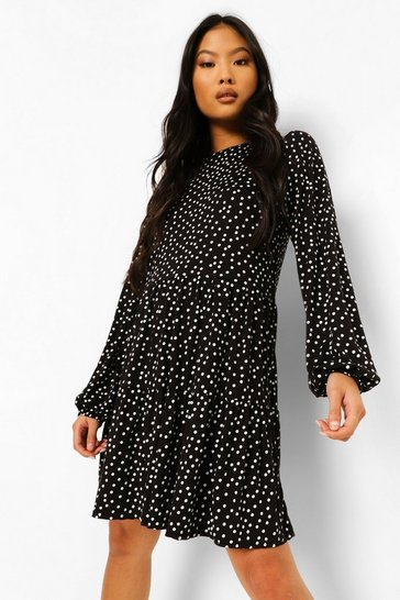 Black Petite Ditsy Spot Swing Smock Dress