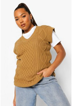 Camel beige Plus Cable Knit V Neck Tank