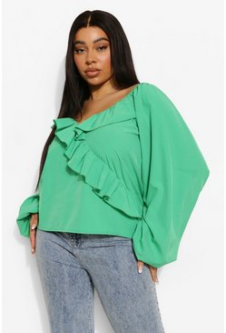Bright green green Plus Ruffle Plunge Volume Sleeve Blouse