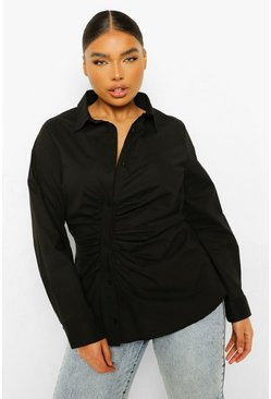 Black Plus Ruched Asymmetric Shirt