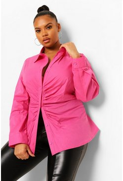Hot pink pink Plus Ruched Asymmetric Shirt