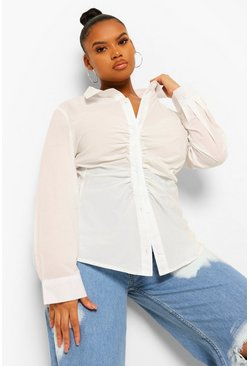 White Plus Ruched Asymmetric Shirt