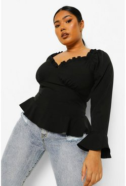 Black Plus Fitted Corset Ruffle Blouse