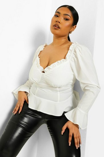 Ivory white White Plus Fitted Corset Ruffle Blouse