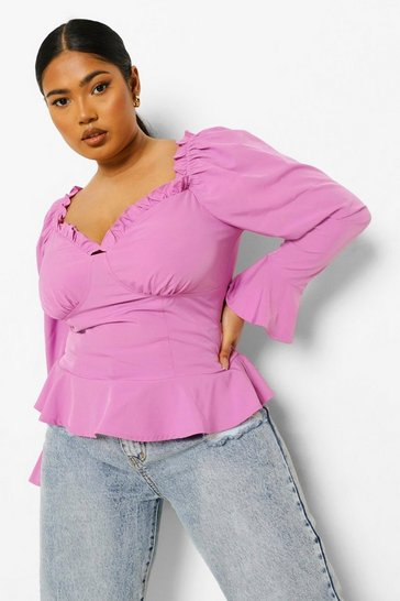 Lilac purple Purple Plus Fitted Corset Ruffle Blouse