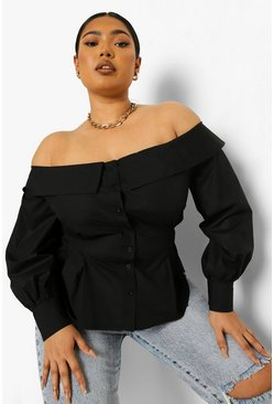 Black Plus Bardot Cinched Volume Sleeve Shirt