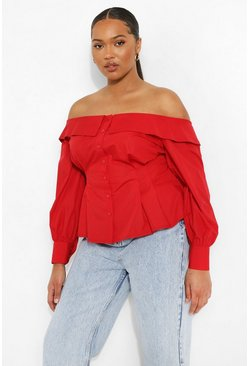 Red Plus Bardot Cinched Volume Sleeve Shirt