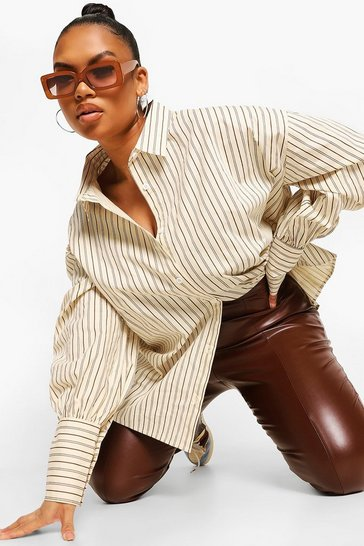 Cream white Plus Oversized Stripe Deep Cuff Shirt