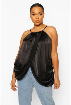 Black Plus Wrap Over Racer Satin Cami