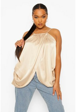 Light stone Plus Wrap Over Racer Satin Cami