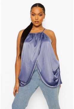 Petrol grey Plus Wrap Over Racer Satin Cami