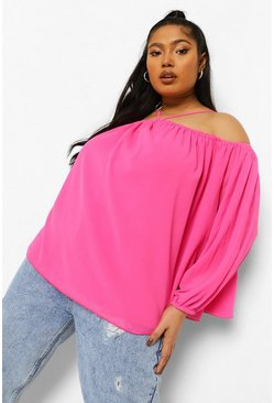 Pink Plus Halter Cold Shoulder Blouse, Rosa