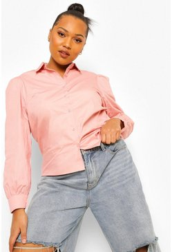 Blush pink Plus Puff Sleeve Shirt