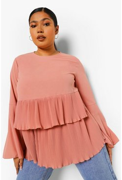Dusty rose pink Plus Tiered Pleated Ruffle Smock Top