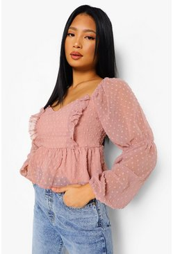 Rose pink Petite Dobby Spot Open Back Ruffle Top