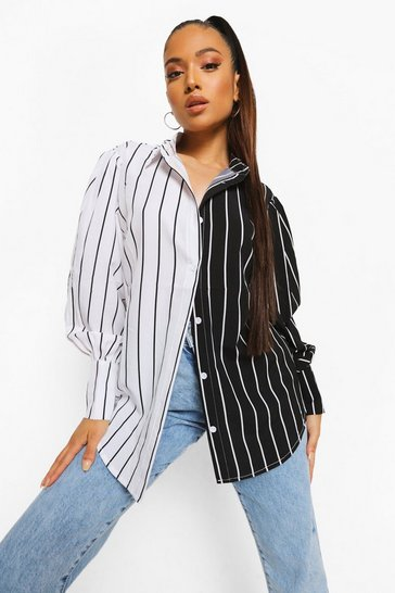 Black Petite Mono Spliced Stripe Shirt