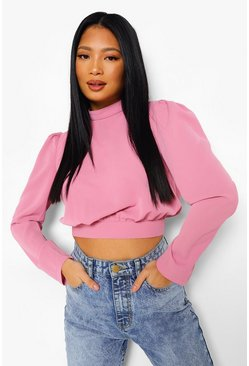 Rose pink Petite High Neck Open Back Woven Crop